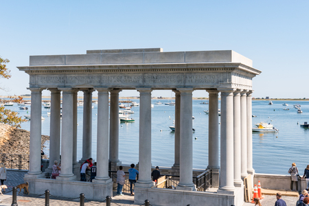 PLYMOUTH, MA - SEPTEMBER 30, 2018: Plymouth Rock Monument site of the pilgrims landing in Plymouth, Massachusetts
