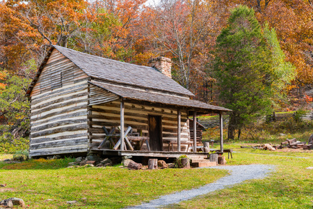Appalachian Homestead Cabin along the Blue Ridge Parkway in Virginia Stock Photo