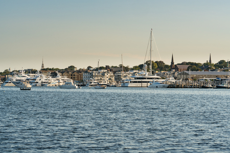 Boats moored in the bay of Newport, Rhode Island