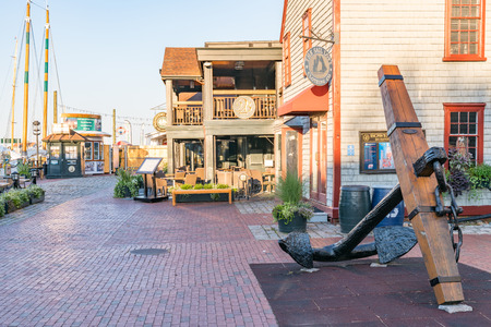 NEWPORT, CT - SEPTEMBER 30, 2018: Entrance to Bowens Wharf, historic shopping and dining destination in Newport Harbor