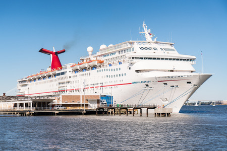 Charleston, SC - November 3, 2018: Carnival cruise ship Ecstasy docked in Charleston, South Carolina