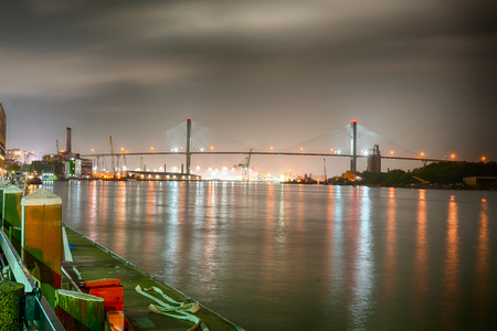 Night on the Savannah River in Savannah Georgia