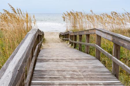 Boardwalk over a sand dune in Myrtle Beach, South Carolina Stock Photo
