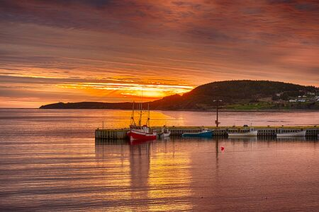 Sunset In Rocky Harbour with fishing boats, Newfoundland, Canada