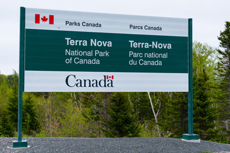 Wiltondale, Newfoundland - June 11, 2019: Welcome sign at the entrance to Terra Nova National Park in Newfoundland, Canada