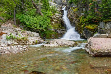 Aster Falls, Glacier National Park, Montana 스톡 콘텐츠