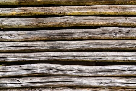 Old weathered log cabin exterior wall background