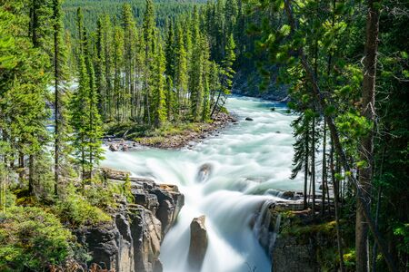 Beautiful Sunwapta Falls, Jasper National Park, Alberta, Canada
