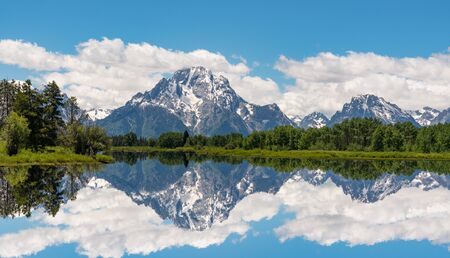 Oxbow Bend along the Snake River in Grand Teton National Park, Wyoming 스톡 콘텐츠