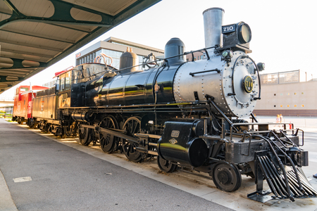 LINCOLN, NEBRASKA - JULY 10, 2018: Restored steam train in Bill Harris Iron Horse Park in the Haymarket District of Lincoln, Nebraska