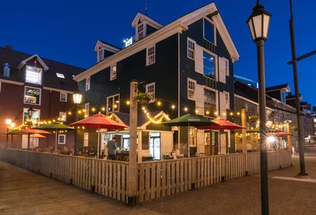 Halifax, Canada - June 18, 2019: Restaurant with outdoor seating along the Halifax, Nova Scotia waterfront
