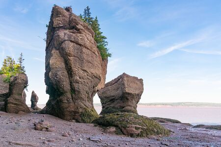 Flower Pot formations along the Bay of Fundy in Hopewell Rocks Park, New Brunswick, Canada