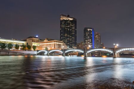 Night Skyline of Grand Rapids, Michigan along the Grand River