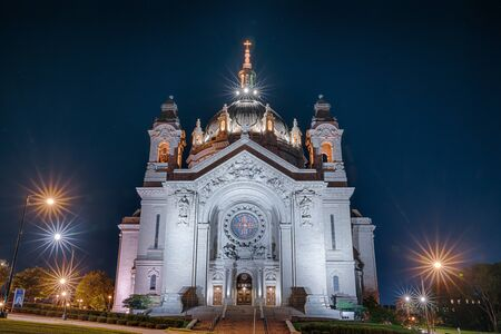 St Paul, MN - September 23, 2019: Cathedral of Saint Paul at night in St. Paul, Minnesota