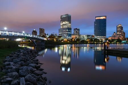 Night Skyline of Milwaukee, Wisconsin from along the Hank Aaron Trail in Lakeshore State Park