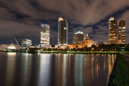 Night Skyline of Milwaukee, Wisconsin from the Lake Michigan Waterfront