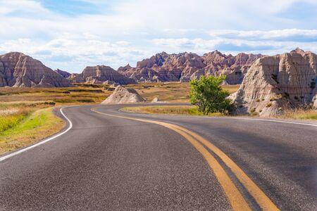 Winding road through Badlands National Park in South Dakota