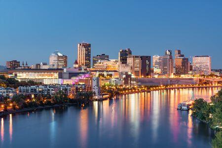 St. Paul, Minnesota night skyline along the Mississippi River