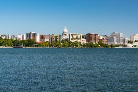 Madison, Wisconsin City Skyline along Lake Manona