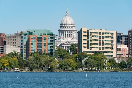 Wisconsin State Capitol Building from Lake Monona in Madison, Wisconsin