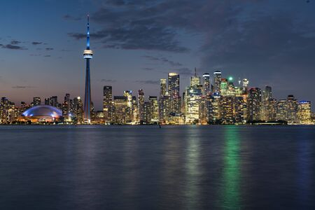 Night city skyline of Toronto, Ontario, Canada Фото со стока