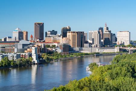 Saint Paul, MN - September 23, 2019: St. Paul, Minnesota Skyline along the Mississippi River