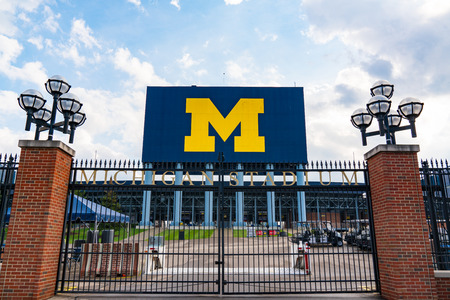 Ann Arbor, MI - September 21, 2019: Entrance gate at the University of Michigan Stadium, home of the Michigan Wolverines Editöryel