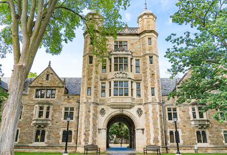 Ann Arbor, MI - September 21, 2019: University of Michigan Lawyers Club on the Law Quadrangle Editöryel
