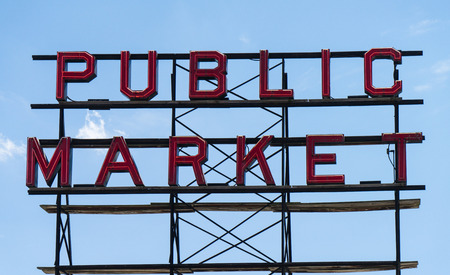 Large neon Public Market sign at Seattles Pike Place Market