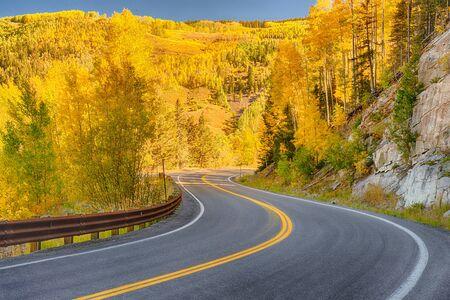 Winding autumn road through the San Juan Mountains of Colorado