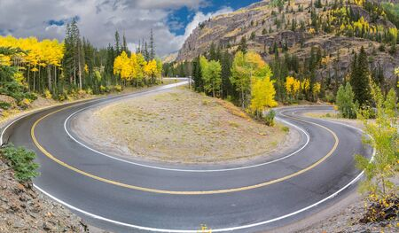 Switchback curve on the Million Dollar Highway winding through the San Juan Mountains near Ouray, Colorado