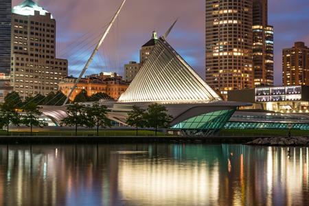 Milwaukee, WI - September 22, 2019: Exterior of the Milwaukee Art Museum along Lake Michigan
