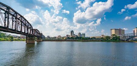 Shreveport, LA - October 6, 2019: City skyline of Shreveport, Louisiana along the Red River Stock Photo