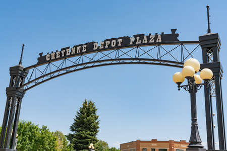 Cheyenne, WY - August 8, 2020: Entrance to the Cheyenne Depot Plaza in the downtown historic district