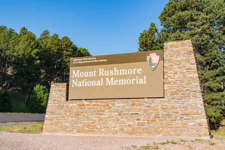 Keystone, SD - August 29, 2020: Entrance sign to Mount Rushmore National Memorial in the Black Hills of South Dakota