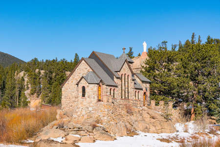 Allenspark, Colorado - November 29, 2020: Saint Catherine of Siena Chapel, also known as the Chapel on the Rock Editorial