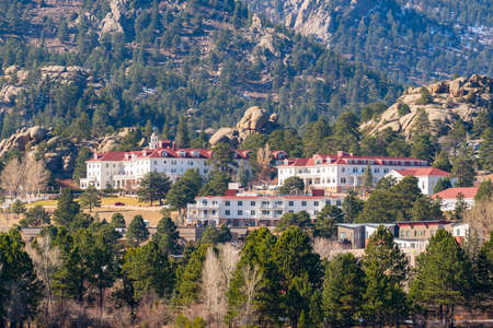 Estes Park, CO - October 31, 2020: View of the historic Staley Hotel in the Rocky Mountains of Estes Park
