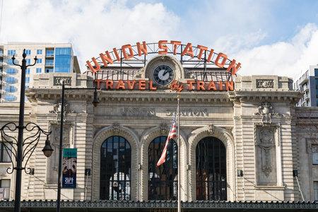 Denver, CO - November 21, 2020: Front facade of the historic Union Station in Denver Colorado