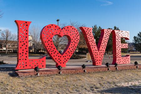 Loveland, CO - November 26, 2020: The Loveland Love Lock sculpture outside of the Loveland Visitors Center Editorial