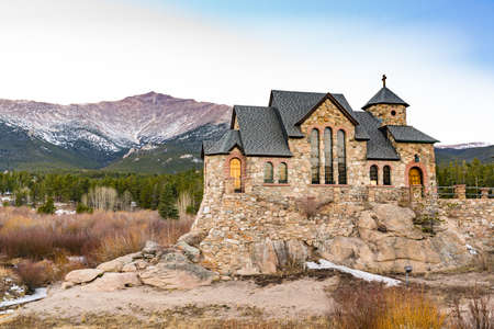 Allenspark, Colorado - November 29, 2020: Saint Catherine of Siena Chapel, also know as Chapel on the Rock