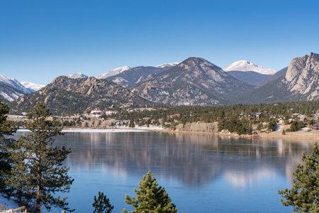 Estes Park, CO - November 29, 2020: View of the the Rocky Mountains and the town of Estes Park, Colorado from across Lake Estes