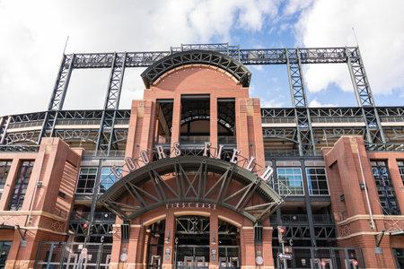 Denver, CO - November 21, 2020: First base entrance of Coors Field, home of the Colorado Rockies Major League Baseball Team