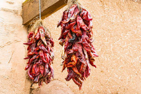 Two bunches of dried hot red chili peppers hanging outside of an adobe building in New Mexico 免版税图像