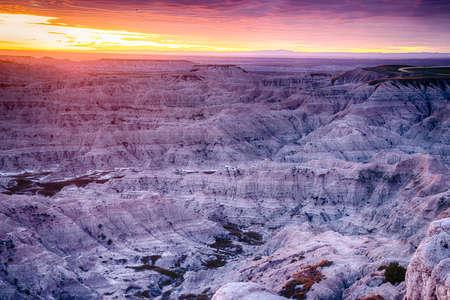 Badlands National Park landscape at Sunset in South Dakota 免版税图像