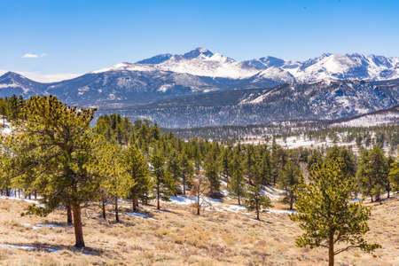 Snow covered mountains in Rocky Mountain National Park, Colorado