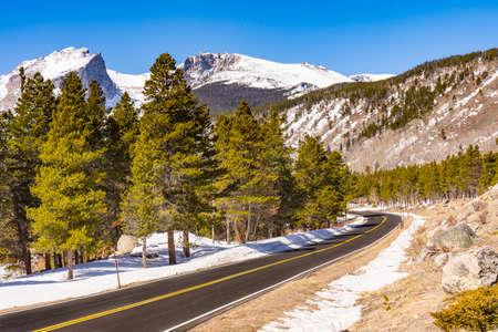 Road into Rocky Mountain National Park in Colorado