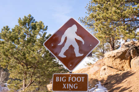 Big Foot Crossing sign in the wilderness of Colorado Imagens