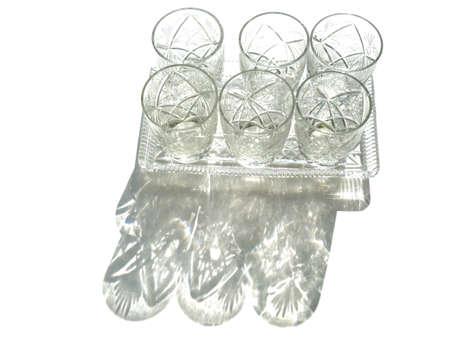crystal vodka glasses made in the USSR. Vintage crystal glass shots glasses