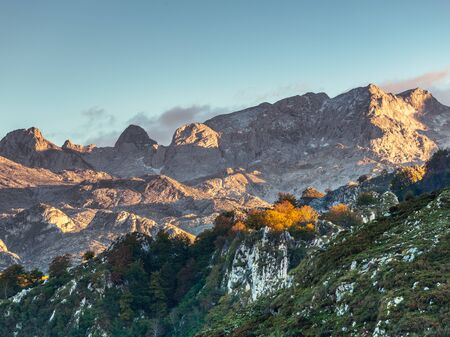 09/10-18, Asturias, Spain. View of a part of the mountain range picos de europa while the sun is setting.