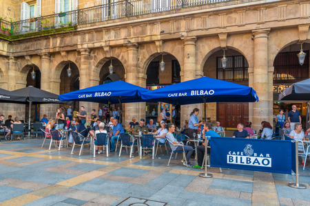16/09-19, Bilbao, Spain. The terrass of Café Bar Bilbao full of people, on Plaza Nueva. Éditoriale